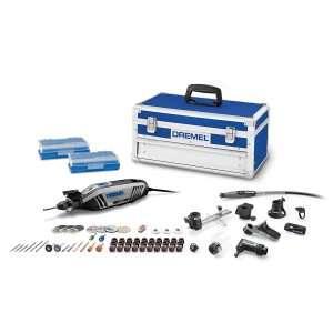 Dremel 4300-9-64 Kit de herramienta giratoria de alto rendimiento con portabrocas universal de 3 mordazas, 9 piezas adicionales y 64 accesorios