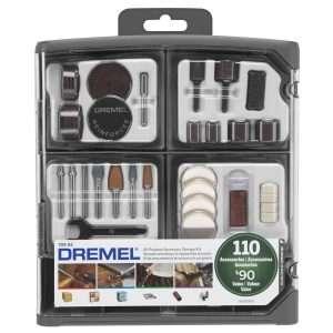 Dremel Juego de accesorios multipropósito para herramienta giratoria, 110 piezas, 709-02, New Set with Reusable Storage, Multicolor