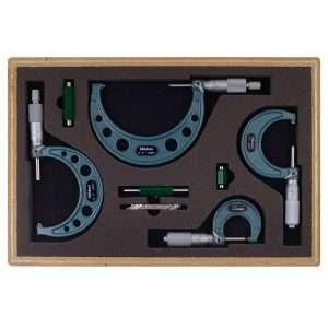 Mitutoyo-103-931-Outside-Micrometer-Set-with-Standards-0-4-Range-0.0001-Graduation-4-Piece-Set-1